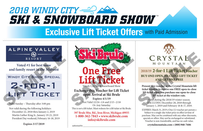 Lift ticket coupon offers for Windy City Ski snowboard show 2018