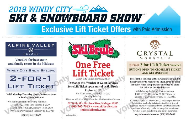 Lift ticket coupon offers for Windy City Ski snowboard show 2020